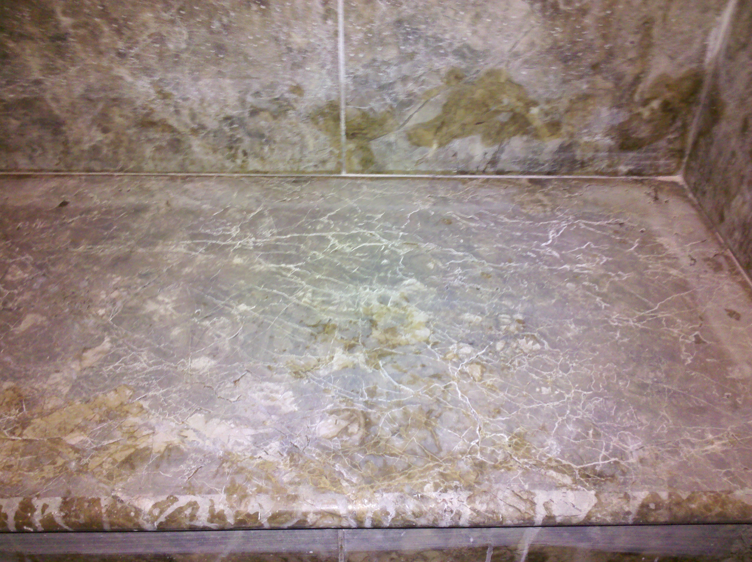 Etched Emperador Brown Sudbury Marble Shower Bench